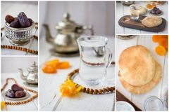 Ramadan collage. Set of images of dried fruits and water for iftar - dates and bread. Ramadan collage. Set of images of dried fruits and water for iftar - dates Royalty Free Stock Photos