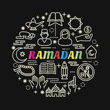 Ramadan colorful gradient with line icons set Royalty Free Stock Image