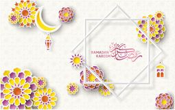 Ramadan Colorful Pattern med islamiska geometriska modeller och stjärnaramen Papper klippte blommor 3d, traditionella lyktor, mån Royaltyfri Bild