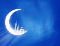 Ramadan Crescent. Moon and mosque