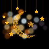 Ramadan. Crescent with the stars. Background of color glare. illustration. Ramadan. Crescent with the stars. Background of color glare. Vector illustration Stock Images