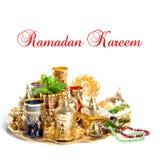 Ramadan decoration lantern Tea green mint leaves Royalty Free Stock Images