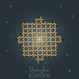 Ramadan design layout. Arabian background with gold shiny light, arabic pattern, stars and typography Stock Photos