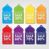 Ramadan Discount Tag Set Promoción de venta con diseño del vector de la forma de la bóveda de la mezquita Imagenes de archivo