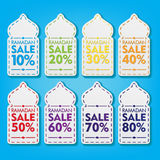 Ramadan Discount Tag Set Promozione di vendita con progettazione di vettore di forma della cupola della moschea Immagine Stock
