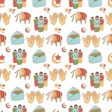 Ramadan Doodle Pattern royalty-vrije illustratie