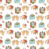 Ramadan Doodle Pattern royaltyfri illustrationer