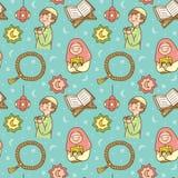 Cute Ramadan doodle seamless pattern stock illustration