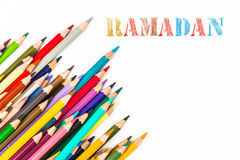 Ramadan drawing by colour pencils Royalty Free Stock Image