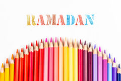 Ramadan drawing by colour pencils Stock Images