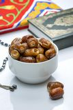 Ramadan Dried Dates with Quran and Rosary Stock Images