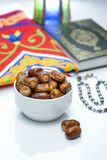 Ramadan Dried Dates with Quran and Rosary Stock Image