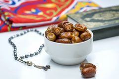 Ramadan Dried Dates with Quran and Rosary Royalty Free Stock Image