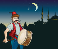 Ramadan drummer and mosque. Ramadan drummer, night, the moon and a mosque