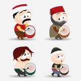 Ramadan drummers. Vector set of ramadan drummers Royalty Free Stock Images