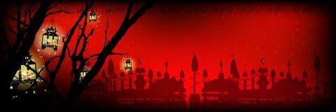ramadan Een lantaarn op een boom een Stock Foto's