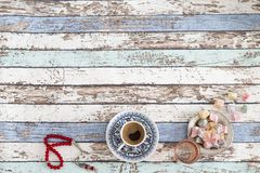 Ramadan and eid background with turkish coffee, turkish delights Royalty Free Stock Photos