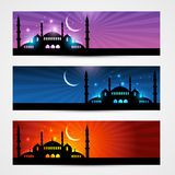 Ramadan and eid headers. Beautiful banners of ramadan kareem and eid