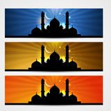Ramadan and eid headers. Colorful set of ramadan kareem and eid headers