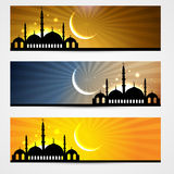 Ramadan and eid headers vector illustration