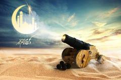Ramadan  and Eid Mubarak, 3D rendering. Card celebration, islamic Royalty Free Stock Image