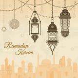 Ramadan eid mubarak Festival background with lamp of Islmaic style. Vector illustration. Banner traditional islamic ramadan, muslim lamp for festival ramadan royalty free illustration