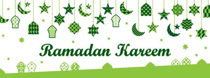 Ramadan element cut banner. This illustration is design Ramadan Kareem with hang Ramadan elements in banner size on white color background Royalty Free Stock Photos