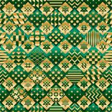 Ramadan element cut six star green gold diamond shape seamless pattern stock illustration