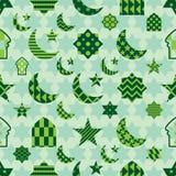 Ramadan elementu cięcia zieleni pastelowej symetrii bezszwowy wzór royalty ilustracja