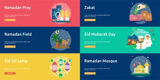 Ramadan et Eid Mubarak Conceptual Banner illustration de vecteur