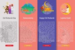 Ramadan et Eid Mubarak Vertical Banner Concept illustration stock
