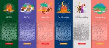 Ramadan et Eid Mubarak Vertical Banner Concept illustration libre de droits