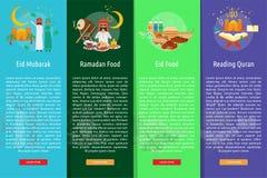 Ramadan et Eid Mubarak Vertical Banner Concept illustration de vecteur