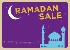 Ramadan Festival Sale concept with Fanoos Lanterns in a Mosque and a Large Crescent Moon. Editable Clip Art. Stock Image