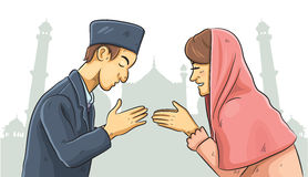Ramadan Forgiveness. Cartoon illustration of celebration ramadan the holy month