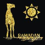 Ramadan gold greeting with camel Stock Photo