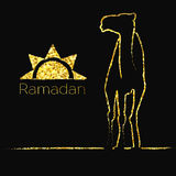 Ramadan gold greeting with camel Royalty Free Stock Images