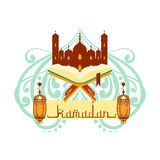 Ramadan greeting card with arabic calligraphy. Koran book and mosque. Colorful vector illustration isolated on a white Royalty Free Stock Photo