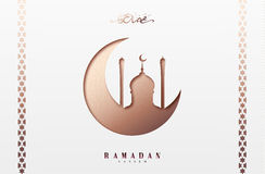 Ramadan greeting card with arabic calligraphy Ramadan Kareem. Islamic background half a month with mosques Royalty Free Stock Photos
