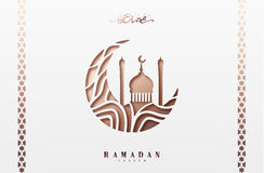 Ramadan greeting card with arabic calligraphy Ramadan Kareem. Islamic background half a month with mosques Stock Photography