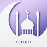 Ramadan greeting card with arabic calligraphy Ramadan Kareem. Islamic background half a month with mosques. Stock Images