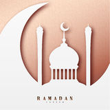 Ramadan greeting card with arabic calligraphy Ramadan Kareem. Islamic background half a month with mosques. Stock Photo