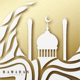 Ramadan greeting card with arabic calligraphy Ramadan Kareem. Islamic background with mosques Stock Photo