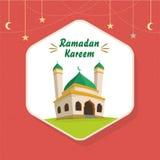 Ramadan Greeting Card avec la mosquée de bande dessinée illustration stock