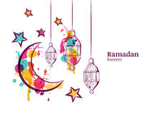 Ramadan greeting card or banner horizontal background. Traditional watercolor lanterns, moon and stars.