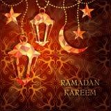 Ramadan greeting card design. With arabic lantern Ramadan Kareem translation: Bless You During The Holy Month Royalty Free Stock Photo