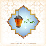 Ramadan greeting card design with lantern Royalty Free Stock Photography
