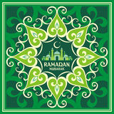 Ramadan greeting card green. Ramadan greeting card with the image of the mosque, minarets  and middle east ornament in Moorish style. Vector template Royalty Free Stock Photos