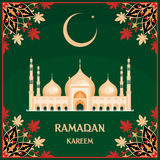 Ramadan greeting card. With the image of the big beautiful mosque and east ornament in Moorish style. Vector template Royalty Free Stock Images