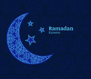 Ramadan greeting card with light blue decorative moon, stars and vector illustration